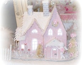 Treasury Shabby Chic Pink Christmas Village House Glitter Victorian Putz Style French Bottlebrush tree wreath Cottage SCT Marie Antoinette