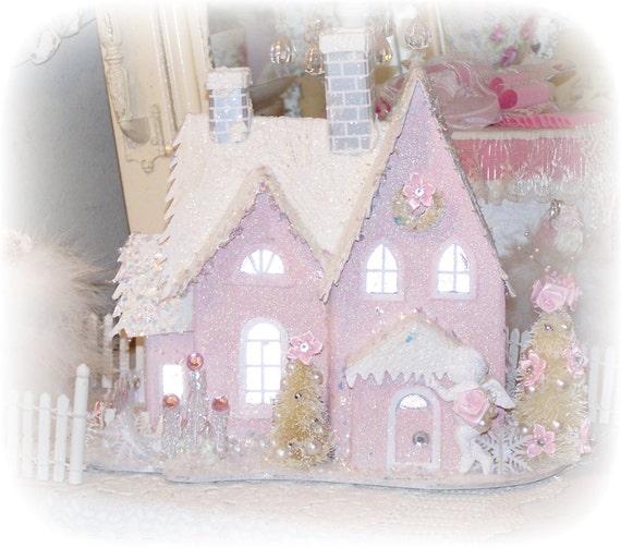 Treasury Shabby Chic Pink Christmas Village House Glitter