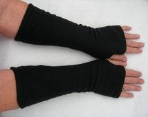 Black Fleece Fingerless Gloves, Black Arm Warmers, Fleece Gloves, Texting Gloves, Cycling Gloves, Black Driving Glove, Tattoo Cover Up