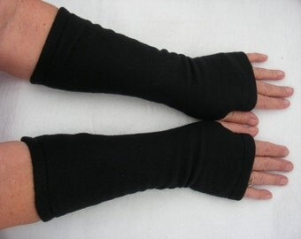 Black Fleece Fingerless Gloves, Black Arm Warmers, Fleece Gloves, Texting Gloves, Cycling Gloves, Black Driving Glove, Tattoo Cover Up