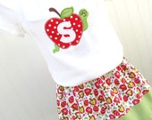 LAST ONE Back to School Girls Apple Skirt and Shirt Set