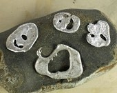 Metal beads for jewelry making, hand cast from recycled tin