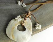 Sea Shell Jewelry, pendant with white shell, Cappuccino Jasper and white Biwa Pearls