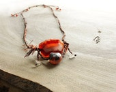 Red Agate Pendant with Fire Agate, clear Quartz beads and rusty brown raw silk braided necklace