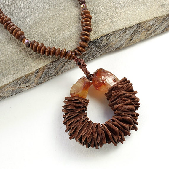 Necklace and earrings matching gift set with Carnelian, brown leather and wooden beads.