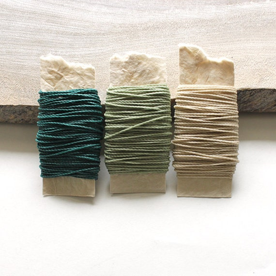 Waxed nylon cord - macrame string for jewelry or thread for leather work, 3 colors each 10 metres (33 feet), green tones