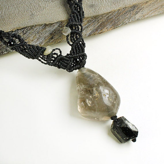 Crystal Healing Pendant with Shaman Dream Stone and Black Tourmaline - protective crystal energy talisman