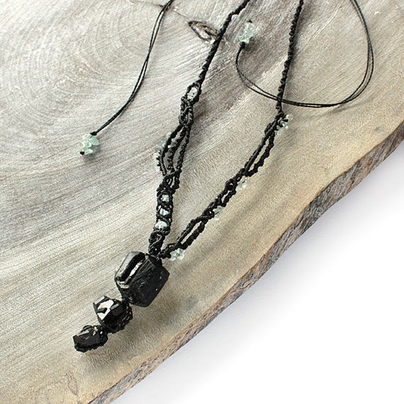 Black Tourmaline Pendant, Crystal Necklace with Aquamarine and black lace macrame - protective charm talisman