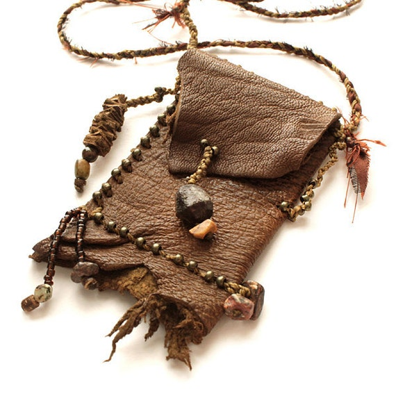 Reserved for B - Brown Leather Pouch in shaman medicine bag style with gemstone beads, brass beads and raw silk