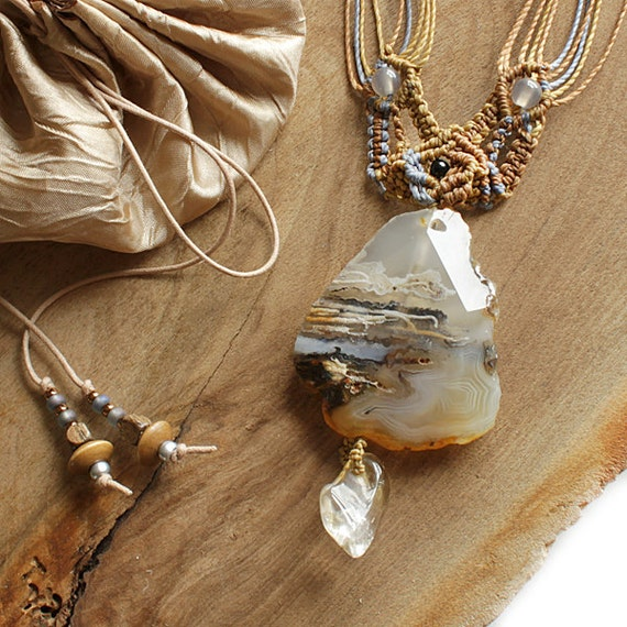 Crystal stone talisman with Agate and Citrine, contemporary macrame knotting, adjustable length