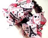 Girls Boutique Layered Hair Bow - Wild About Paris - Pink, Black,, White, Zebra, Dots