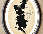 Earl Grey tea silhouette Victorian whimsy art 8x10