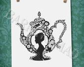 Tea Dreams I silhouette 8.5x11 print
