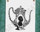 Tea Dreams II silhouette 8.5x11 print