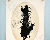 Camomile tea silhouette Victorian whimsy art 5x7