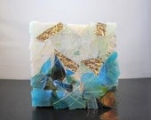 Art Glass Sculpture - Horizons in Blue, Turquoise White