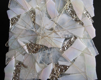 Art Glass Sculpture, White Moon Beams in White, Crystal and Silver