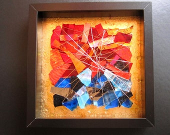 Art Glass Sculpture - Fire and Water in Scarlets and Blues
