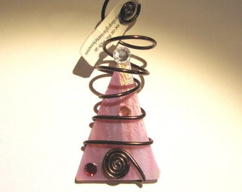 Glass Ornament Wire Wrapped Christmas Tree - Pink