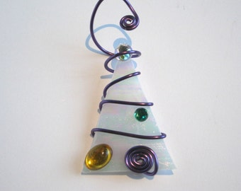 White Christmas Tree Glass Ornament Wire Wrapped