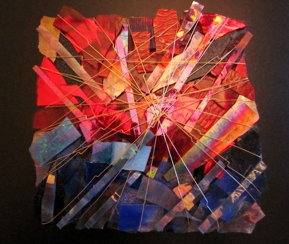 Art Glass Sculpture, Fire Song in Scarlet and Blue