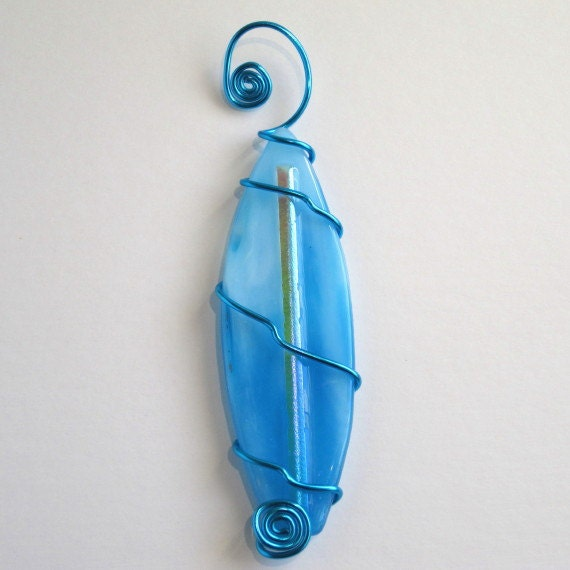 Turquoise Wave Fused Glass Surfboard Ornament with Dichroic Glass