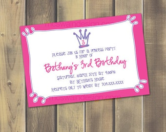 Pink Real Princess Invitation - Printable PDF