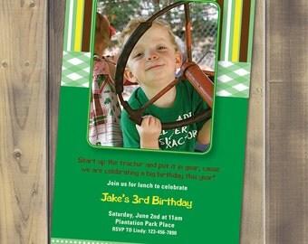 Little Tractor Birthday Invitation - Printable PDF
