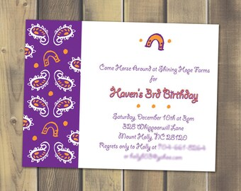 Paisley Cowgirl Party Invite - Printable PDF
