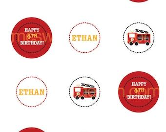Fun Firetruck Party Circles - Printable PDF