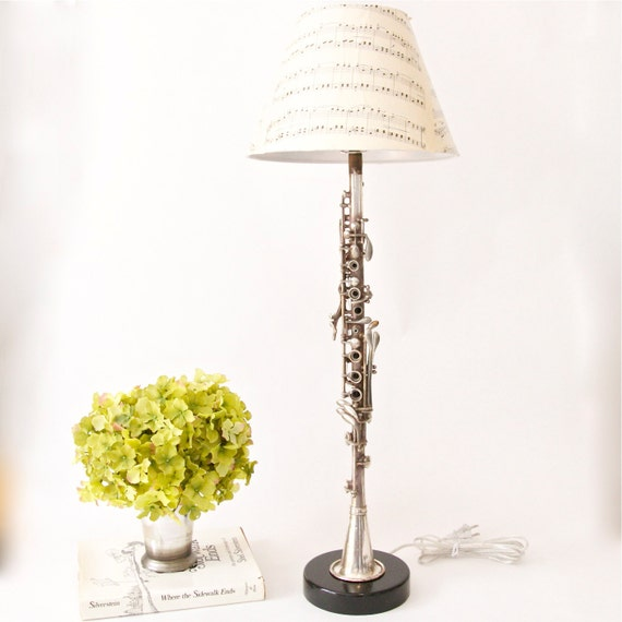 Vintage Metal Clarinet Lamp - round wood base