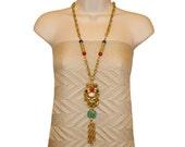 RESERVED FOR KATHERINE Chinoiserie Tassel Necklace, Golden Mask, Hollywood Regency, 1960s