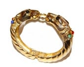 RESERVED FOR ALBA Les Bernard Bracelet, Clamper, Leopards With Jeweled Collars, Signed, Rare, Collectible, 1960s