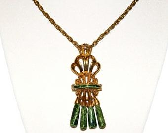 Salvador Teran Necklace, Gold and Ceramic, Aztec Design, Rare, Vintage 1950s