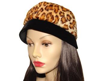 Vintage Animal Print Hat, Faux Fur, Black Velvet, 1960s