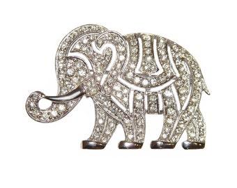 Hattie Carnegie Brooch, Elephant, Art Deco Rhinestone, Signed, Rare, Collectible