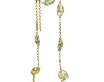 Kenneth Lane Necklace, Green Iridescent Seashells, Signed, 1970s