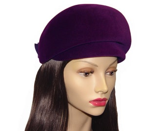 Vintage Mod Hat, Luxurious Purple, 1960s
