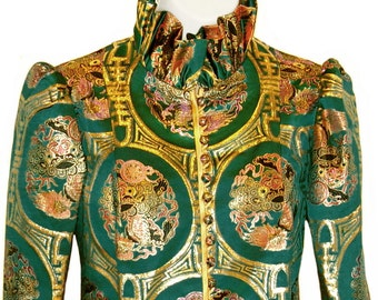 Chinese Silk Jacket, Emerald Green and Gold, Dragons