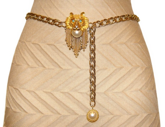 Pauline Rader Belt, Lion Buckle, Mabe Pearls, Adjustable, Rare, Collectible, Signed, 1960s