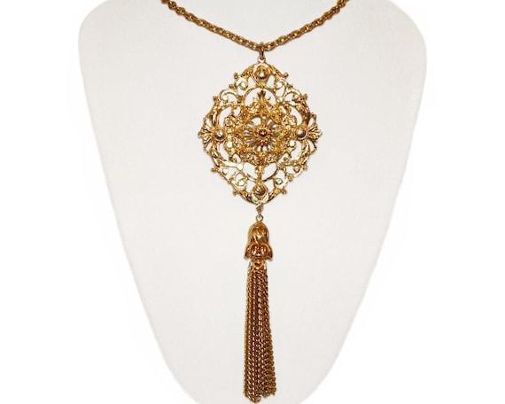 Golden Tassel Necklace, Triple Chain, 1970s