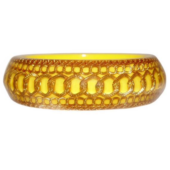 Lucite Bracelet, Bangle, Yellow With Encased Chains, Rare, 1950s