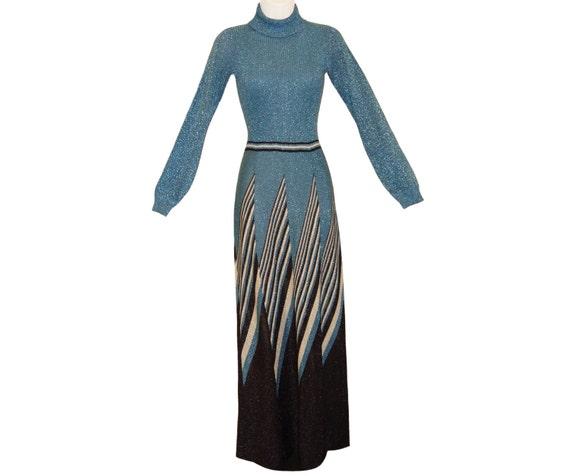 Metallic Graphic Dress, Wenjilli, Art Deco Design, 1970s
