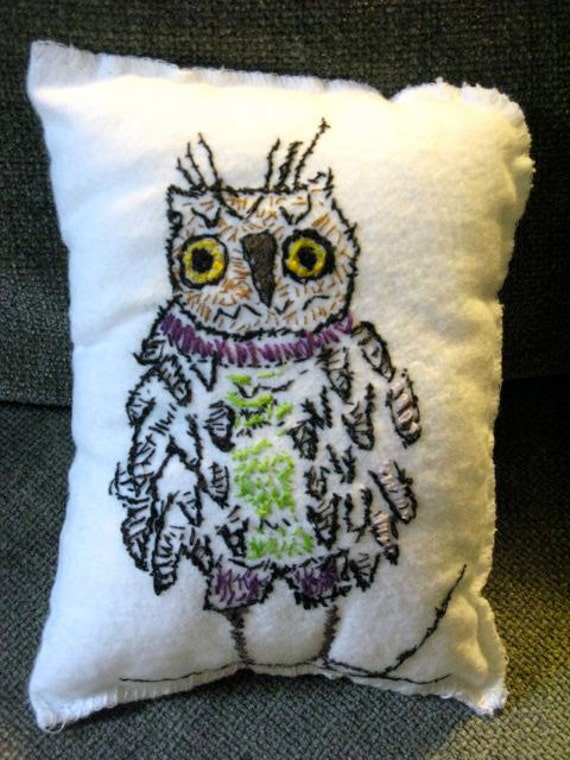 handmade stitched owl decorative pillow by maggie stern