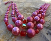 Rose / Pearl Bib Necklace / 3 Strands / Mother of the Bride