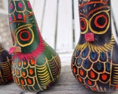 3 Hand Carved Gourds From Peru / Vintage Ornaments / Owls