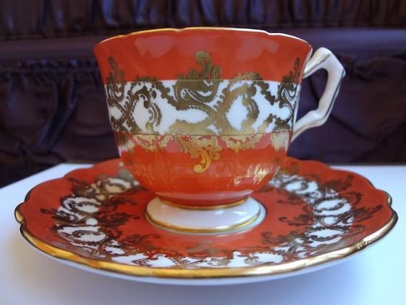 Burnt Orange / Gold Detail / Tea Cup and Saucer / Bone China / Aynsley
