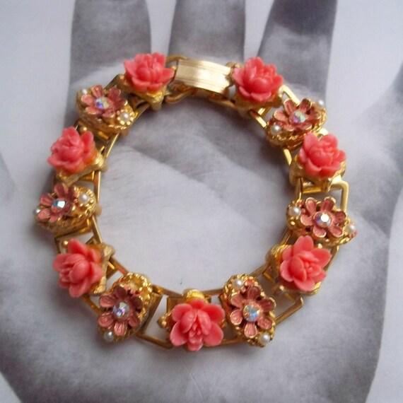 Coral and Gold Link Floral Pink Flower Bracelet