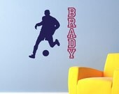 Wall Decal Soccer Player with Personalized Name Wall Art Wall Sticker Teens Children Playroom Interior Wall Vinyl Decor Sunshine Decals