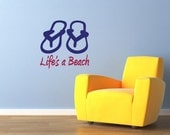 Wall Decal - Life's A Beach with Sandals Wall Art Wall Sticker for Interior Wall Design Fun Wall Decor Sunshine Decals